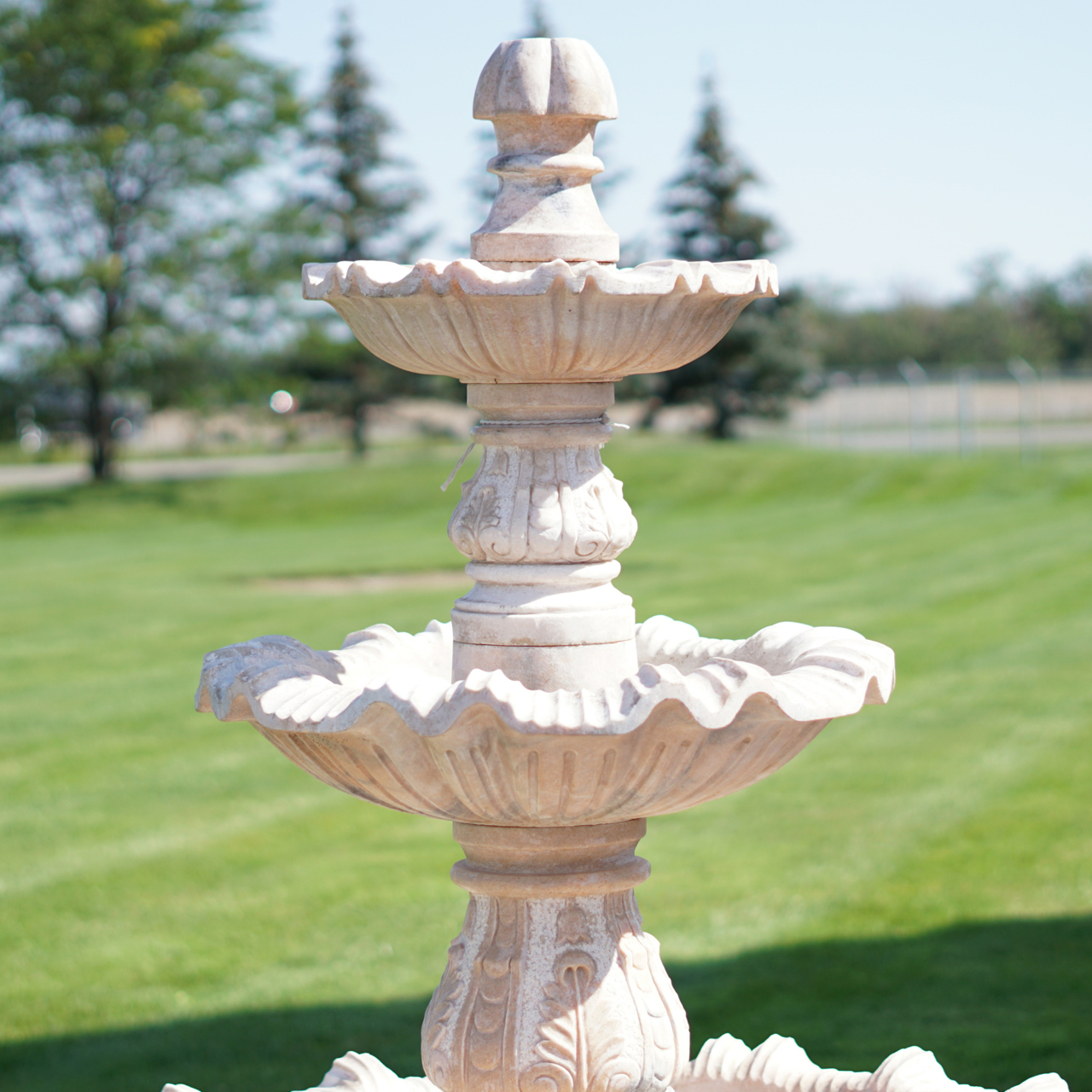 Three Tier Pink Marble Fountain Irongate Garden Elements