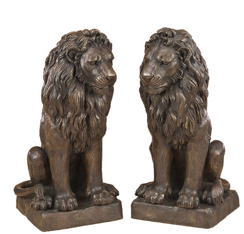 pair of sitting bronze lion statues irongate garden elements