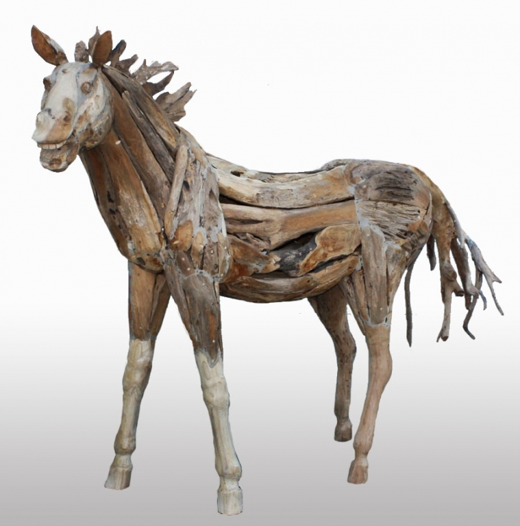 Carved Teak Root Horse Statue Irongate Garden Elements