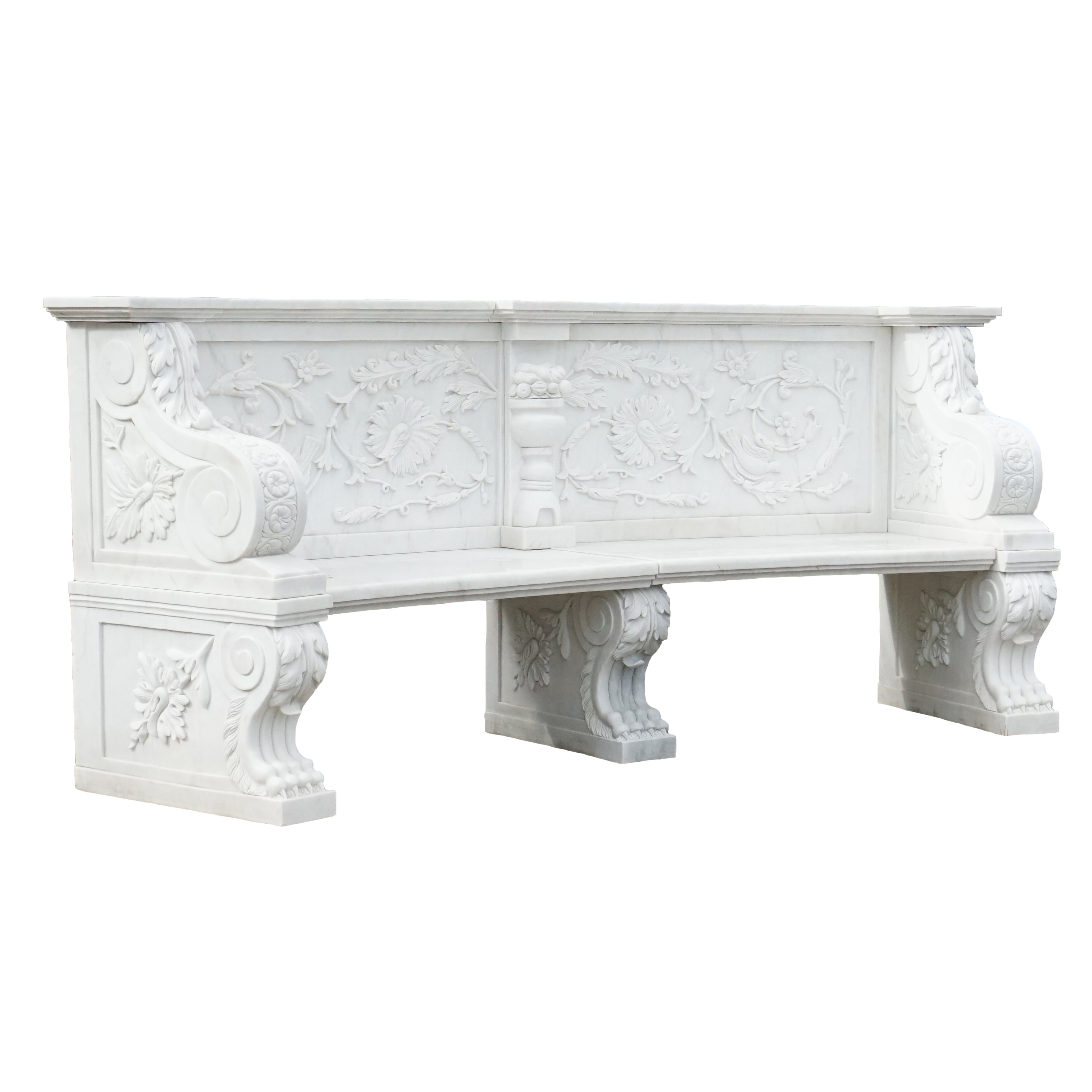 Hand Carved White Marble Bench Irongate Garden Elements