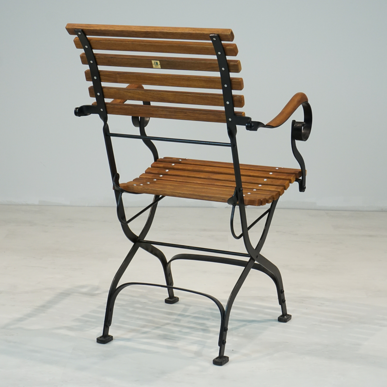 French Provincial Iron And Teak Folding Outdoor Arm Chair